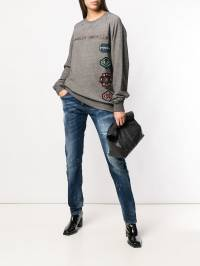 Frankie Morello - oversized logo patch sweatshirt F8965FEG659350803500