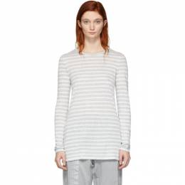 T by Alexander Wang Grey and White Striped Slub Long Sleeve T-Shirt 191214F11000703GB