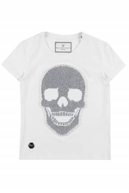 Белая футболка с черепом Philipp Plein Kids 2714113486
