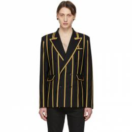 Saint Laurent	 Black Wool Gabardine Striped Blazer 559495Y221W