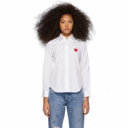 Comme des Garcons Play White and Red Heart Patch Shirt P1B001