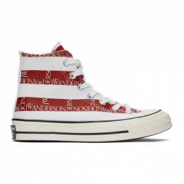 J.W. Anderson Indigo and Red Converse Edition Grid Logo Chuck 70 Hi Archive Print Sneakers 192477F12700107GB