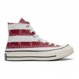 J.W. Anderson Indigo and Red Converse Edition Grid Logo Chuck 70 Hi Archive Print Sneakers 192477M23600111GB