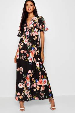 Cap Sleeve Shirred Waist Floral Maxi Dress Boohoo DZZ15101-105-16