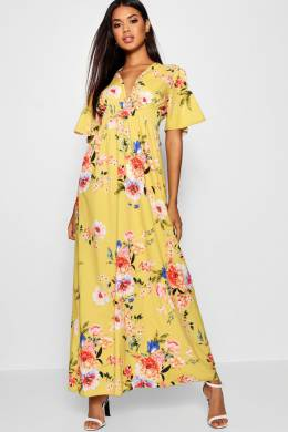 Cap Sleeve Shirred Waist Floral Maxi Dress Boohoo DZZ15101-146-24