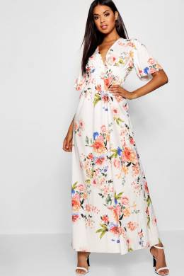 Cap Sleeve Shirred Waist Floral Maxi Dress Boohoo DZZ15101-173-22