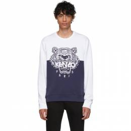 Kenzo Navy and White Limited Edition Colorblock Tiger Sweatshirt F955SW5584Z5