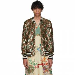 Gucci Green GG Sequin Bomber Jacket 572525 ZABaD