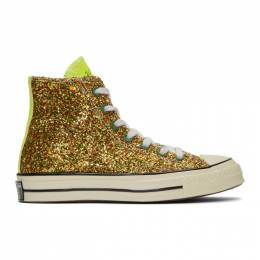 J.W. Anderson Gold and Silver Converse Edition Glitter Chuck 70 High Sneakers 191477F12700707GB