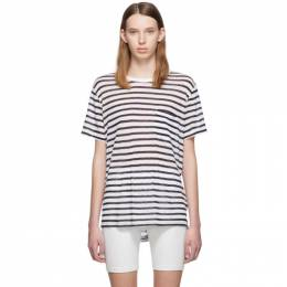 T by Alexander Wang White and Navy Striped Slub Pocket T-Shirt 192214F11002104GB