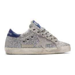 Golden Goose Deluxe Brand Silver and Grey Superstar Sneakers 192264F12807402GB