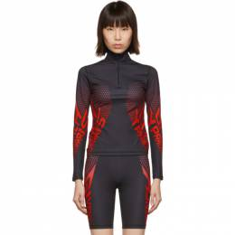 Givenchy Black and Red Neoprene Zip-Up Sweater 192278F09700501GB