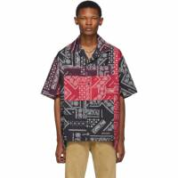 Palm Angels Red and Black Bandana Patchwork Bowling Shirt