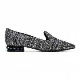 Nicholas Kirkwood Blue Tweed Casati Loafers 192301F12101510GB