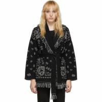 Alanui Black and White Jacquard Bandana Belted Cardigan