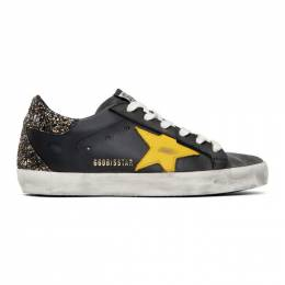 Golden Goose Deluxe Brand Black and Yellow Glitter Superstar Sneakers G35WS590.P11