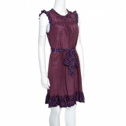 Marc by Marc Jacobs Multicolor Printed Silk Ruffled Trim Belted Dress XS 155639