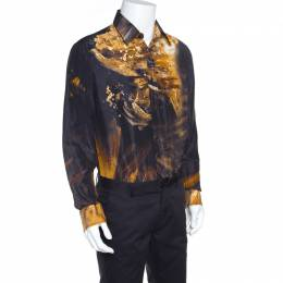 Just Cavalli Multicolor Silk Abstract Printed Button Front Shirt L 156288