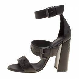 Bottega Veneta Black Leather Embroidery Stitch Detail Block Heel Ankle Strap Sandals Size 37.5 156290