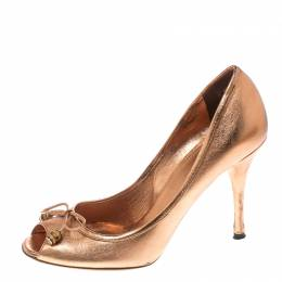 Gucci Metallic Bronze Leather Bamboo Bow Peep Toe Pumps Size 37