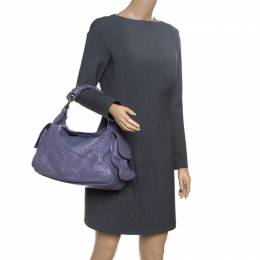 Bottega Veneta Purple Leather Woven Snakeskin Limited Edition 033/300 Shoulder Bag 151713
