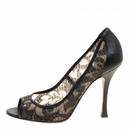 Sergio Rossi Black Lace And Leather Peep Toe Pumps Size 38.5 151262