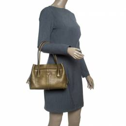 Tod's Dark Gold Leather D Bag Media Tote 147270