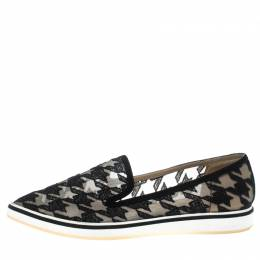 Nicholas Kirkwood Black Mesh and Fabric Alona Hound's Tooth Emroidered Pointed Toe Loafers Size 38