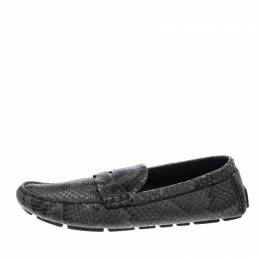 Louis Vuitton Grey Python Penny Loafers Size 43.5