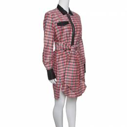 Isabel Marant Checked Ramie and Silk Contrast Trim Belted Mofira Shirt Dress M 147169