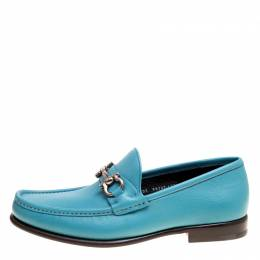Salvatore Ferragamo	 Blue Leather Mason Gancio Bit Loafers Size 43.5