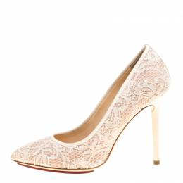 Charlotte Olympia Beige Lace and Satin Monroe Pointed Toe Pumps Size 39 148540