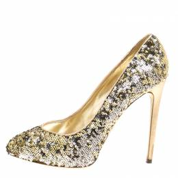 Dolce and Gabbana Metallic Two Tone Sequins Pumps Size 39