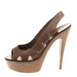Bottega Veneta Brown Leather Peep Toe Platform Slingback Sandals Size 38.5 143514