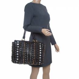 Miu Miu Black Leather Studded Monk Bag