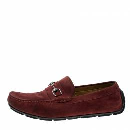 Gucci Red Suede Horsebit Loafers Size 44