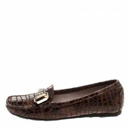 Stuart Weitzman Brown Croc Embossed Suede and Leather Crystal Embellished Loafers Size 36