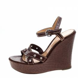 Sergio Rossi Brown Croc Embossed Leather Wedge Ankle Strap Sandals Size 40