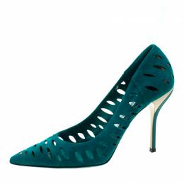 Jimmy Choo Teal Suede Talka Cutout Pumps Size 38.5