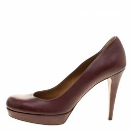 Gucci Maroon Leather Charlotte Platform Pumps Size 41