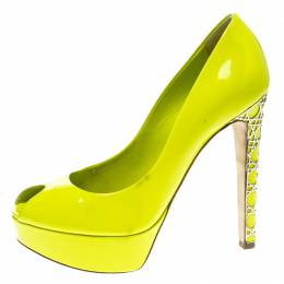 Dior Lime Green Patent Leather Peep Toe Cannage Heel Platform Pumps Size 37.5 139051