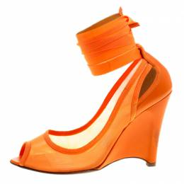 Fendi Orange Mesh And Leather Ankle Wrap Cut Out Wedge Pumps Size 37