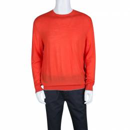 Z Zegna Blood Orange Wool Long Sleeve Sweater XL