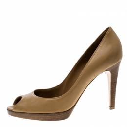 Gianvito Rossi Brown Leather Peep Toe Pumps Size 40.5