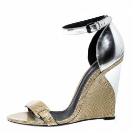 Bottge Veneta Cream/Silver Lizard and Leather Wedge Sandals Size 40 Bottega Veneta 134889