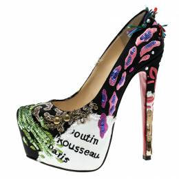 Christian Louboutin Limited Edition Daffodile Brodee Crepe Satin Pumps Size 35 253213
