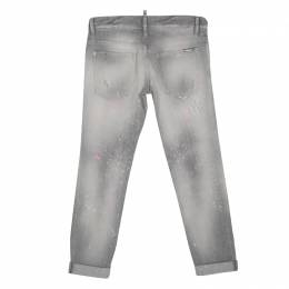 Dsquared2 Grey Faded Effect Splattered Distressed Cuffed Jeans S 134933