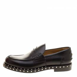Valentino Black Leather Soul Rockstud Penny Loafers Size 40