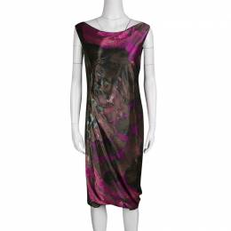 Alberta Ferretti Multicolor Printed Draped Sleeveless Dress M 135658