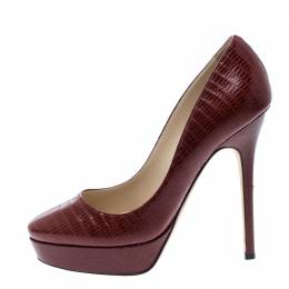 Jimmy Choo Red Lizard Embossed Leather Cosmic Platform Pumps Size 36